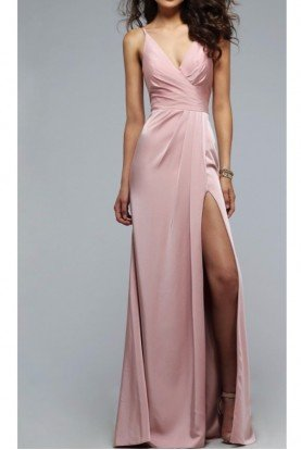 7755 Dusty Pink Gown Long Silk Satin Dress
