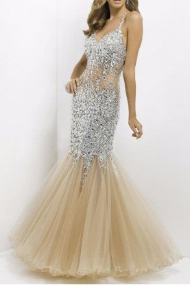Crystal Encrusted Nude Illusion Gown Mermaid Dress