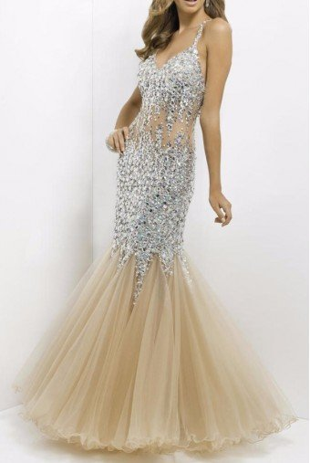 Blush Prom Crystal Encrusted Nude Illusion Gown Mermaid Dress