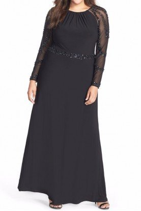Marina Black Beaded Long Sleeve Jersey Gown Plus Size