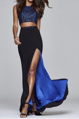 S7927 Jeweled Two Piece Set Royal Blue Black Dress