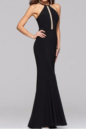 7899 Refined Illusion Cutout Halter Gown dress