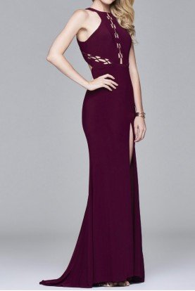 7909  Burgundy Peak A Boo Cutout Sheath Dress Gown