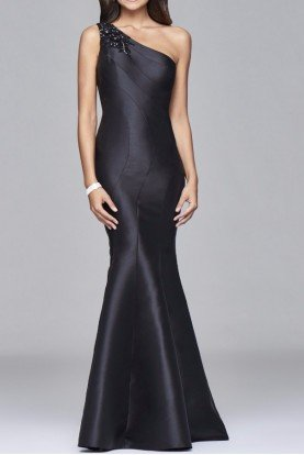 S7973 Beaded One Shoulder Black Mermaid Gown Dress