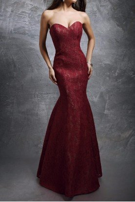 Enchanted Elegance Burgundy Lace Mermaid Gown 1278