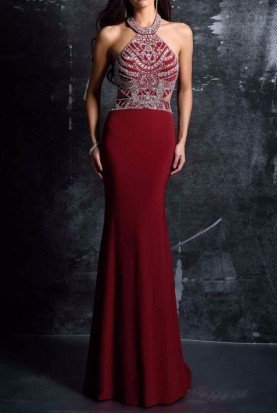 Burgundy Cutout Beaded Evening Gown Dress 1328