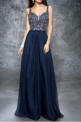 1324 Beaded Plunge Evening Gown Dress Navy