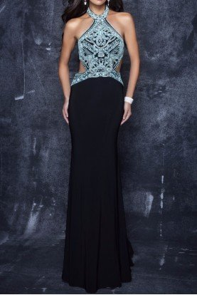 3120 Sensational Beaded Black Cutout Evening Gown