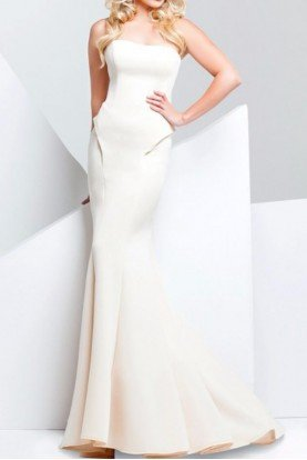 115704 Champagne Strapless Mermaid Gown Dress