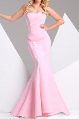 115704 Pastel Pink Strapless Mermaid Gown Dress