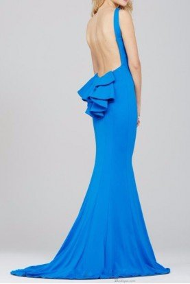 32628 Peacock Blue Open Back Evening Dress Gown
