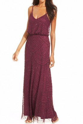 Adrianna Papell Art Deco Beaded Blouson Gown Dress in Cassis Plum