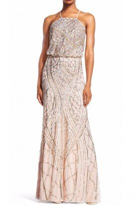 Adrianna Papell Beaded Blouson Halter Gown in Shell