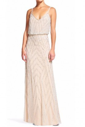 Diamond Beaded Blouson Dress Gown Blush Nude