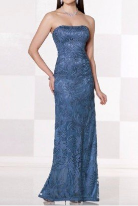 Blue Ribbon Detailed Strapless Evening Gown
