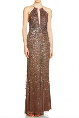 Women's Brown Sleeveless Keyhole Beaded Gown