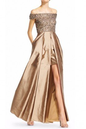 Adrianna Papell High Low Gold Beaded Off Shoulder Taffeta Gown