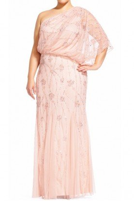 One shoulder Blush Beaded Gown Blouson Dress