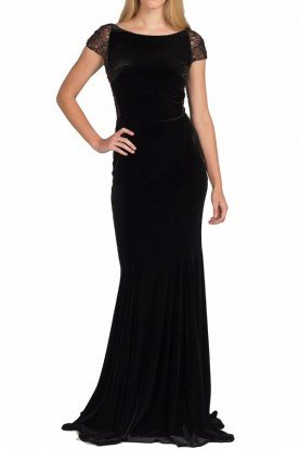 Badgley Mischka Cap-Sleeve Black Velvet Lace Evening Gown EG1950