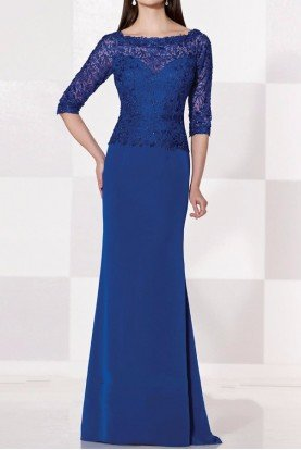 Cobalt Blue Long Sleeve Gown Mother of Bride Dress