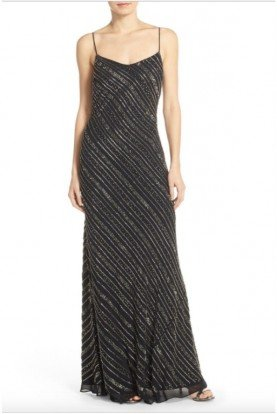 Adrianna Papell Sleeveless Fully Beaded Black Sequin V-Neck Gown