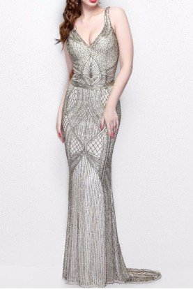 1723 Gorgeous Beaded Sleeveless Evening Gown Dress