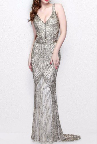 Primavera Couture 1723 Gorgeous Beaded Sleeveless Evening Gown Dress
