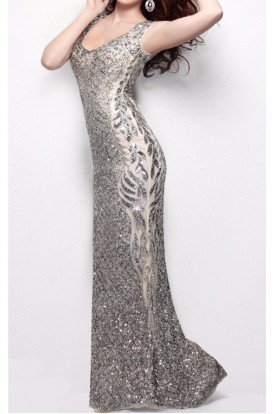 1422 Sleeveless Nude Sparkly Evening Gown Dress