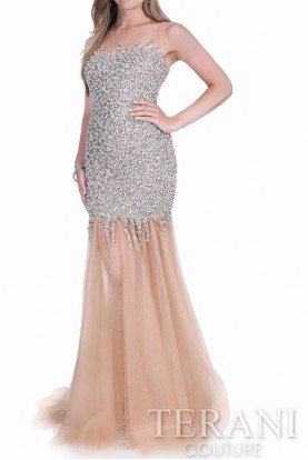 1611P0284 Rhinestone Encrusted Gown Evening Dress
