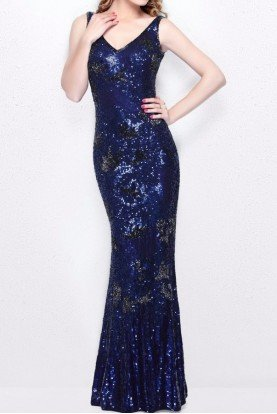 1702 Navy Blue Sequin Beaded Gown Evening Dress
