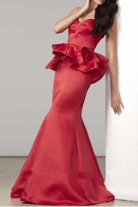 48182D Red Strapless Peplum Evening Gown Dress