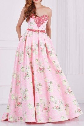 61105 Blush Pink Strapless Floral Dress Gown