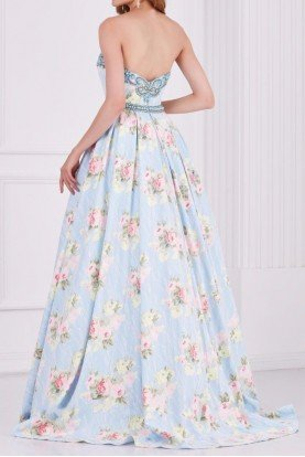 61105 Pleated Perfection Floral Evening Gown Blue