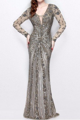 1755 Champagne Gold Beaded Long Sleeve Gown Dress