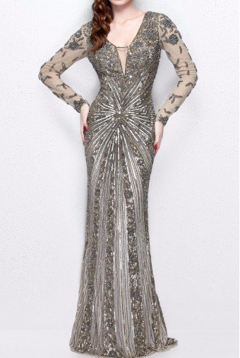 Primavera 1755 Champagne Gold Beaded Long Sleeve Gown Dress