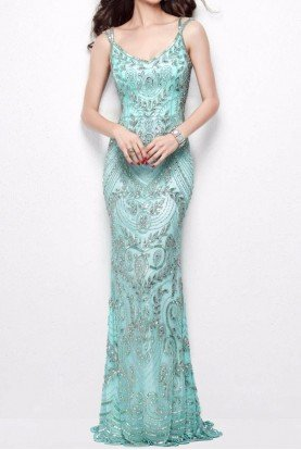 1402 Sleeveless Silver Beaded Mint Aqua Dress Gown