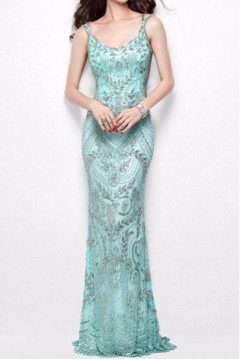 Primavera Couture 1402 Sleeveless Silver Beaded Mint Aqua Dress Gown