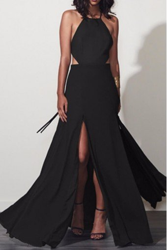Fame and Partners Black Backless Dreamer Gown Dress