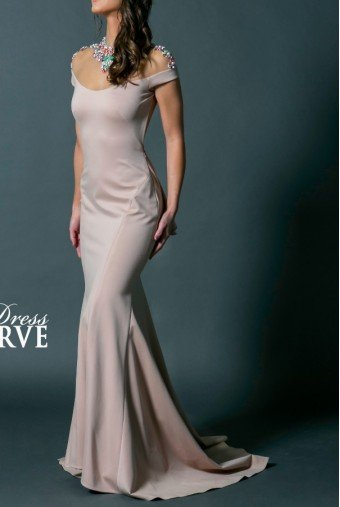 Alyce Paris Light Pink Jewels Gown Ruffle Open Back