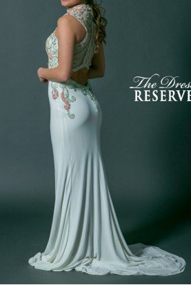 White Stones Encrusted Open Back Gown