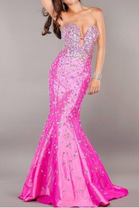 Jovani Pink Trumpet Jeweled Strapless Gown