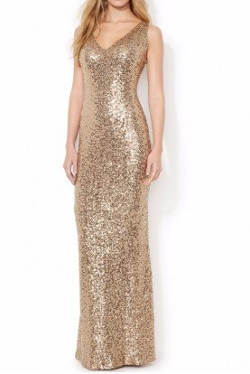 Gold Sequin V-Neck Evening Bridesmaid Gown Dress