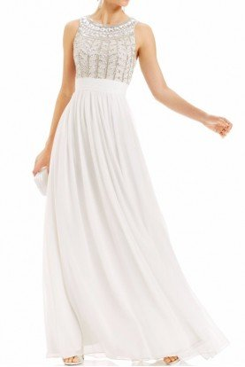 JS Collection White Jeweled and Chiffon Long Gown Dress