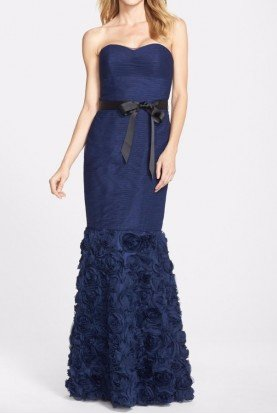 Navy Strapless Gown with Ruffles