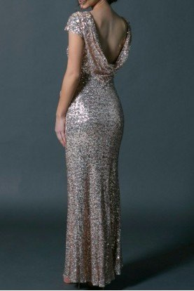 Rose Gold Sequin Cowl Gown with Capsleeves