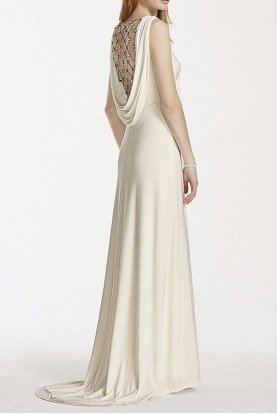 Jersey Sheath Wedding Gown Pearl Chain