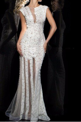 Tony Bowls TB11625 Dress Ivory Lace Illusion Gown