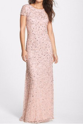 Adrianna Papell Scoop Blush Pink Sequin Beaded Mesh Gown Dress