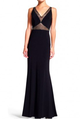 Adrianna Papell Black Mermaid Gown Dress with Beaded Sheer Inserts