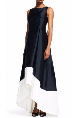 Adrianna Papell Sleeveless Colorblock High Low Dress Black V-Back